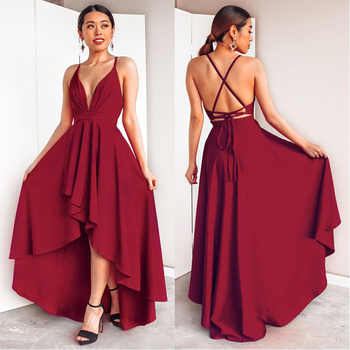 Burgundy Dress For Wedding Party Elegant A Line Deep V Neck Spaghetti Strap High Low Sexy Bridesmaid Dresses With Cross Back - DISCOUNT ITEM  30% OFF All Category