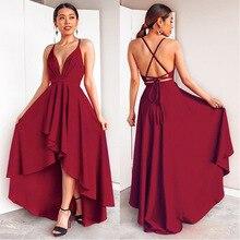בורגונדי שמלת מסיבת חתונה אלגנטית קו עמוק V צוואר ספגטי רצועה גבוהה נמוך סקסי שושבינה שמלות עם צלב בחזרה