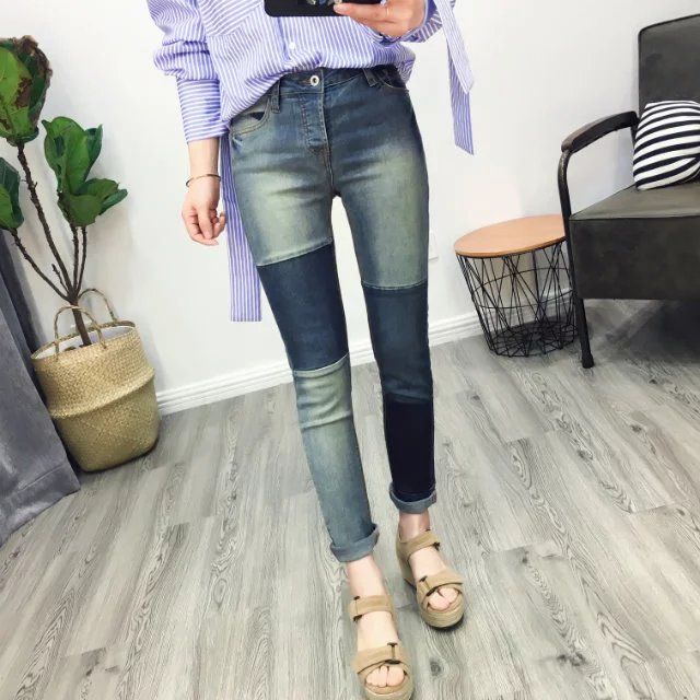 Fashion 2017 New Spring Summer Jeans Women Slim Patchwork Stretch High Waist Pencil Pants Casual Full Length Denim Trousers