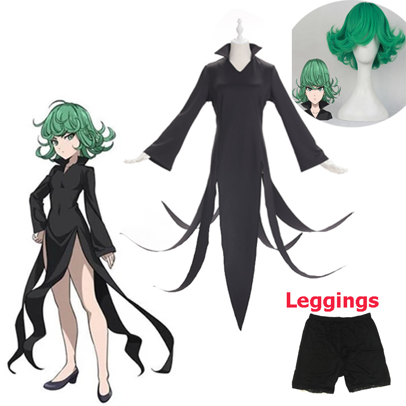 3pcs/set Anime One Punch Man Tatsumaki Cosplay <font><b>Costume</b></font> Gothic Dress girls clothes <font><b>Halloween</b></font> <font><b>Costumes</b></font> for women <font><b>Sexy</b></font> <font><b>Costumes</b></font> image