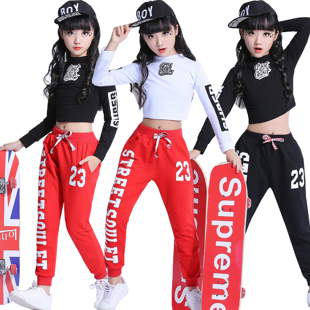 1 Set Kids Ballroom Modern Jazz Hip Hop Dance Competition Costumes Suits Shirt Tops Pants Girls Party Stage Wear Dancing Outfits