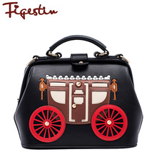 FIGESTIN 2016 New Women PU Shoulder Bags Strap High Quality Hasp Hard Trunk Patchwork Women Messenger Bags Famous Brand Cartoon
