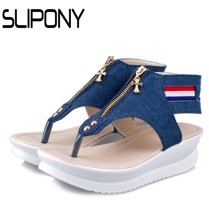 flip flop woman sandals Fujin 6cm Brand open toes Flat Platform Sandals Women 2017 Summer Sandal denim Female jeans Shoes - Official Store store