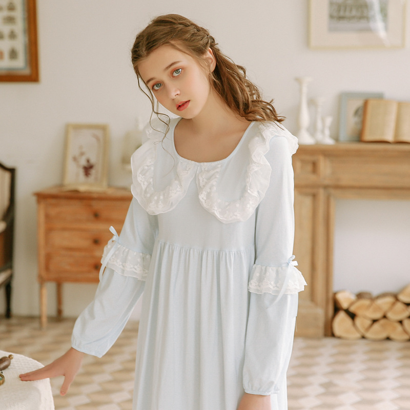 2019 New Cotton 95% Sleepwear Women Long Nightdress Long Sleeve Ladies Spring   Nightgowns     Sleepshirts   Ruffles