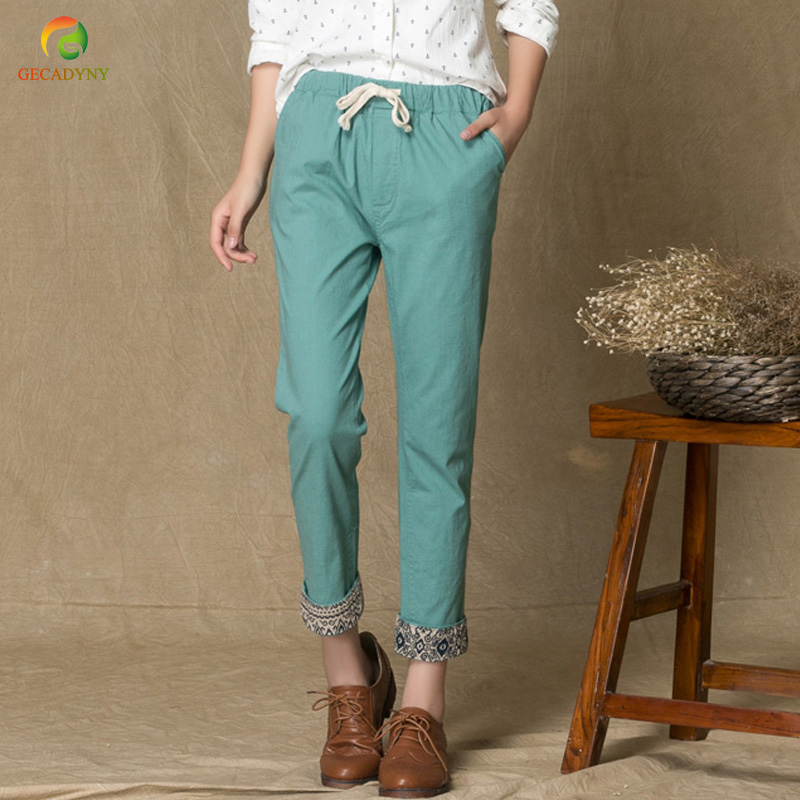 Linen Women's   Pants   2018 Summer Casual Elastic Waist Harem   Pants   Candy Color Crimping Printing Trousers   Capris   pantalon femme