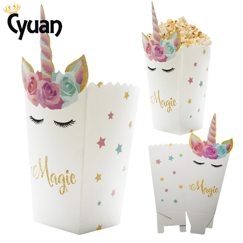 Unicorn Party Supplies Popcorn Box Paper Gift Box Wedding Favor Candy Box Kids Babyshower Pop Corn Bag Birthday Table Decoration