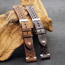 Onthelevel Cowhide Leather Retro Porous Watch Strap 18mm 19mm 20mm 22mm Breathable Band With Quick Release Bars #D
