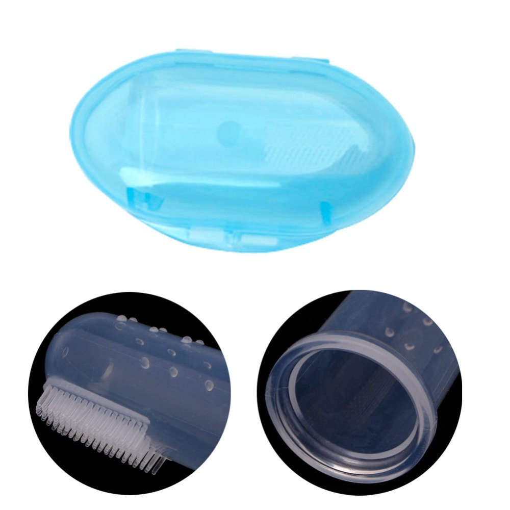 Baby Kids Infant Soft Silicone Finger Toothbrush Teeth Rubber Massager Brush Boxes image