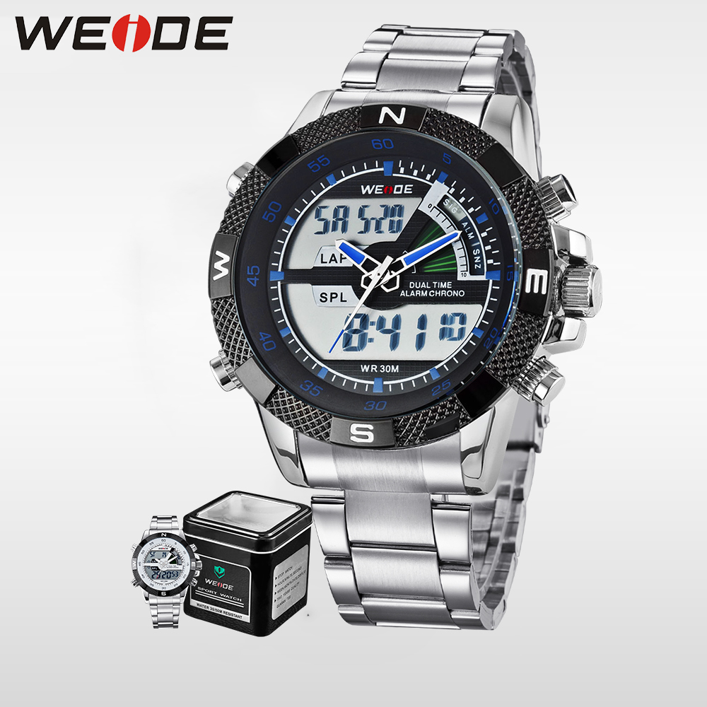 WEIDE High Quality Watch Men Luxury Brand Quartz Movement LCD Analog Digital Display  Water Resistant Wristwatch Sale Items 1104 weide black watch men casual leather strap quartz yellow dial analog display water resistant big fashion high quality male clock