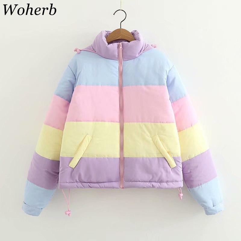 Woherb 2019 Kawaii Winter Jacket Women Japanese Sweet Rainbow Padded Coat Ladies Parka Loose Hooded Wadded