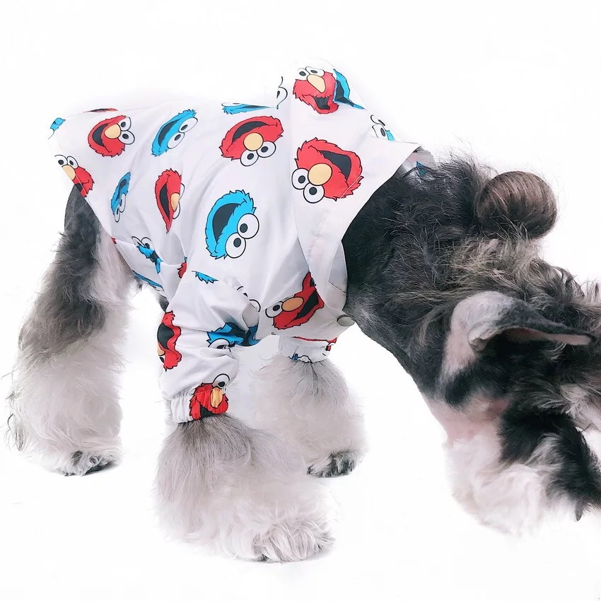 Sesame Street Pet Dog Raincoat Clothes For Small Dogs Waterproof Windproof Clothes Rain Coat Outdoor Costumes Bulldog EMC13 in Dog Raincoats from Home Garden