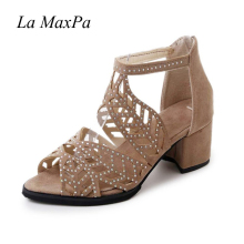 La MaxPa Buckle Strap Women Gladiator Sandals Peep Toe Summer Shoes Th