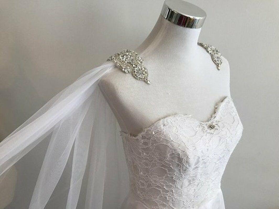 Cape Veil Rhinestone Appliques on ShouldersBridal Shoulder Veil White Ivory bridal shawl