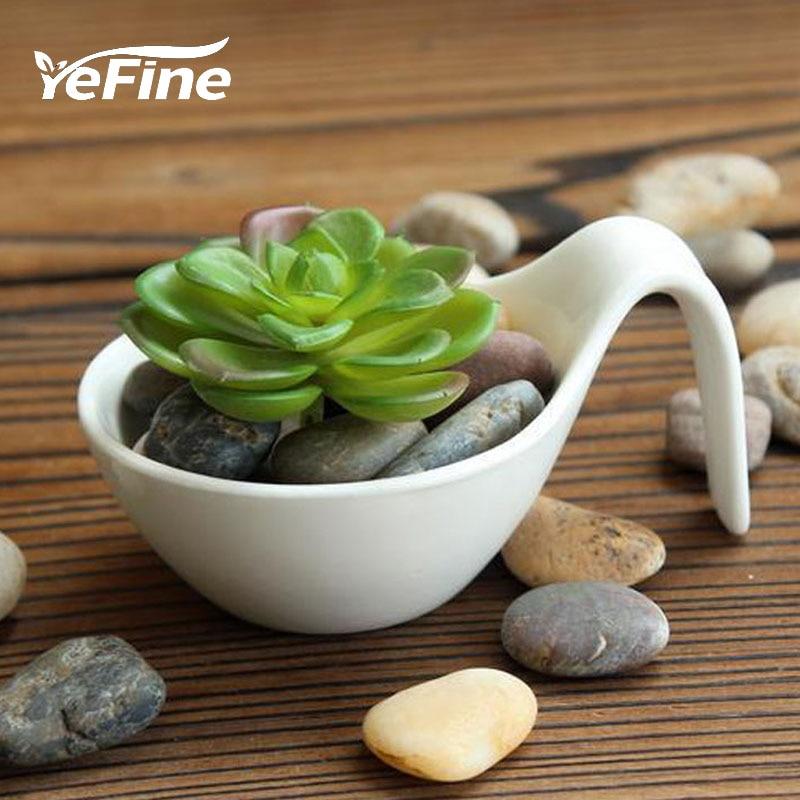 YeFine 백색 화분 세라믹 작은 분재 냄비 크리 에이 - 가든 용품