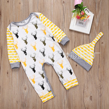 New 2016 cute baby rompers jumpsuit comfortable clothing for new born babies 0-24 m baby wear , newborn baby clothing