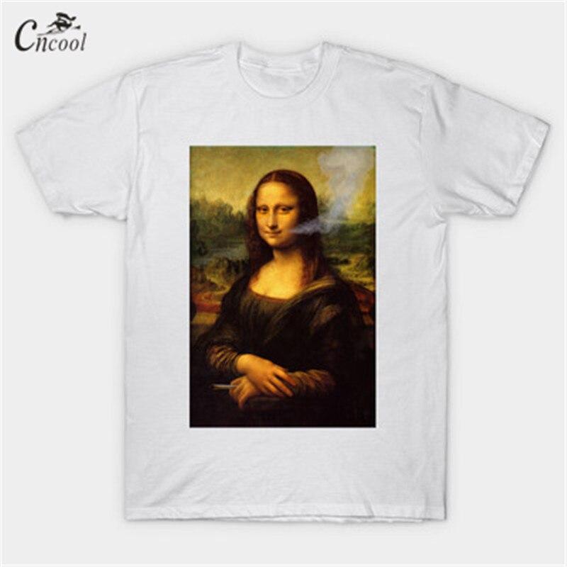 Mona Lisa Smile Mens T-shirt 2018 summer pattern T shirt mens casual short-sleeved T-shirt Short Sleeve Casual T Shirt