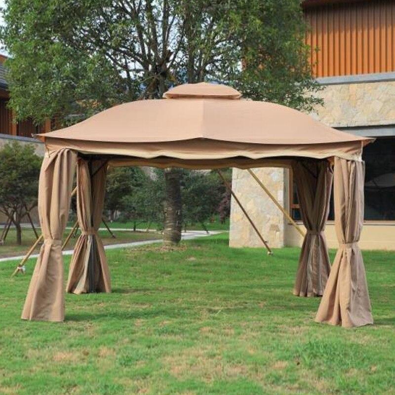 3x3.6 метра deluxe алюминиевый патио Беседка палатки сад оттенок павильон крышей мебели дом Водонепроницаемый с марлей и занавес