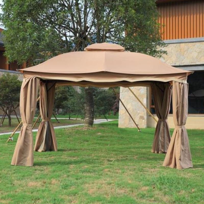 €356.56  3x3.6 mètres de luxe en aluminium patio gazebo tente jardin ombre  pavillon toit meubles maison étanche avec gaze et rideau-in Pavillon jardin  ...