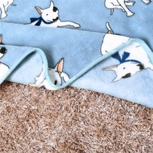 100x75cm Coral Fleece Warm Bullterrier Print Pet Bed Mats House Soft Blankets for Small Medium Large Cats Dogs
