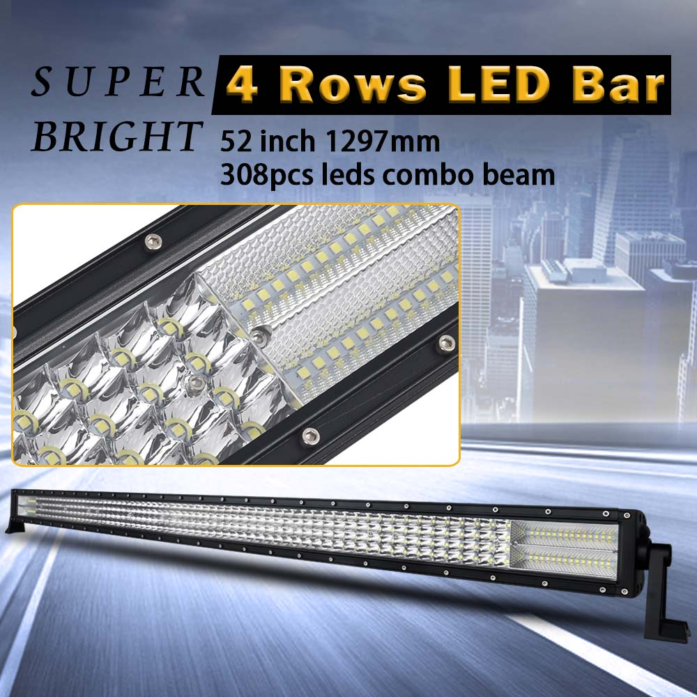52 inch 4 Rows Led Bar Led Work light for Off Road 4x4 4WD ATV UTV SUV Driving Light Truck Led Light Bar Auto Lamp Actual 262W 100w 8000lm combo 10 led white work light bar off road lamp suv atv lamp driving lamp