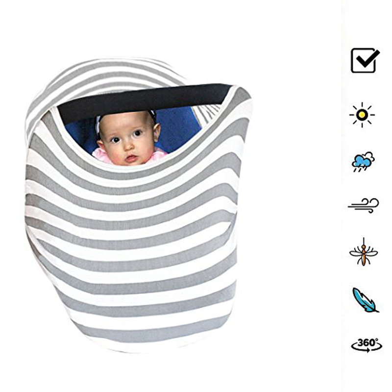 Mulit-fuction Lightweight Soft Cotton Breastfeeding Baby Nursing Cover Baby Car Seat Cover Canopy Cover for Breastfeeding Baby
