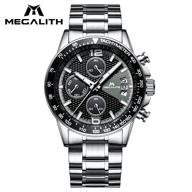 MEGALITH Watch For Men With Waterproof Chronograph Date Stainless Steel Strap Watch Men Fashion Casual Quartz Wrist Watch Gents megalith quartz watches mens waterproof chronograph calendar silver stainless steel wrist watch gents sport business men s watch