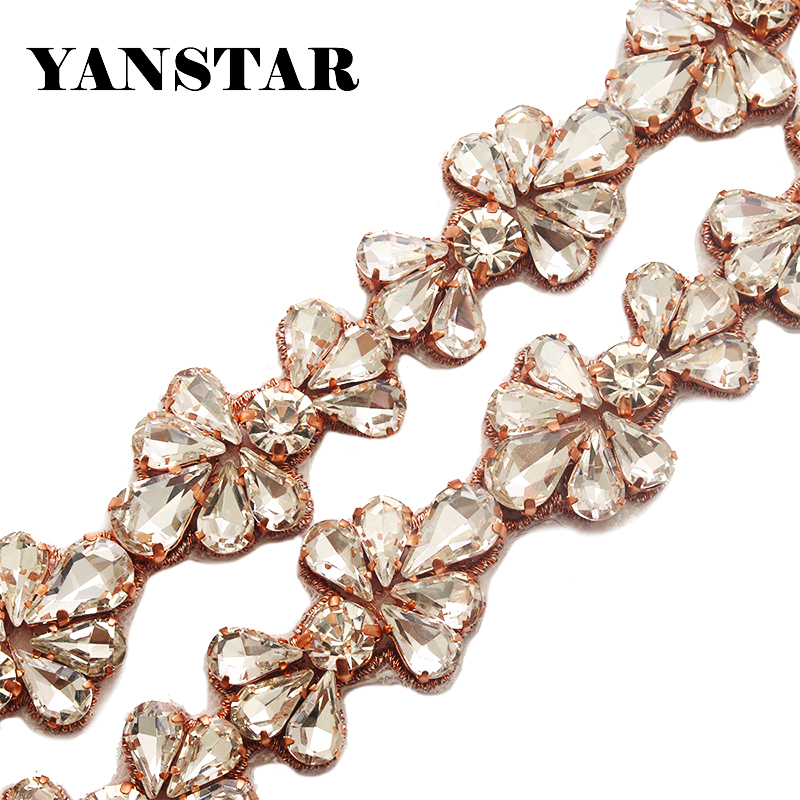 YANSTAR Handmade 2CM 1Yard Rhinestones Trim Iron On Wedding Dresses Belt  Rose Gold Silver Sewing b6313fbf890c