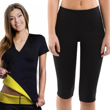 цена на New Women Slimming Yoga Sets Short Sleeve Exercise Shirts Gym Clothes Neoprene Running Tights Sport Leggings Fitness Yoga Shorts