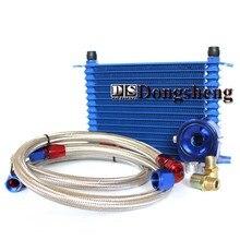 Универсальный 15 рядов масляный радиатор+ Масляный фильтр Сэндвич адаптер синий+ SS нейлон нержавеющая сталь плетеный AN10 шланг