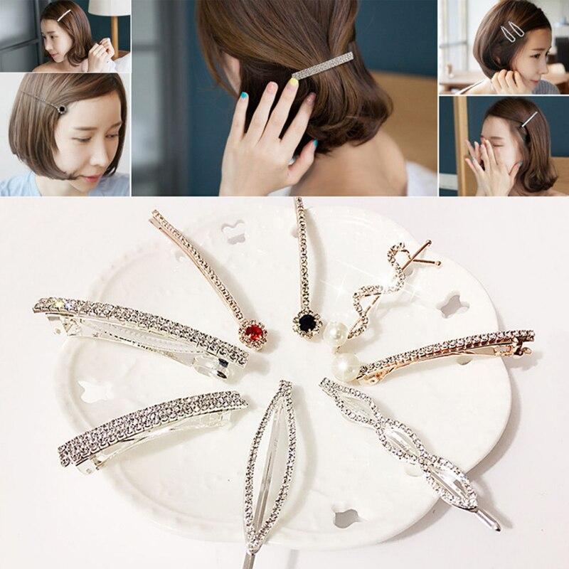 Fashion 1PC Rhinestones Hair Clips A Word Folder Gift Exquisite Hair Pin Crystal Children Adult Hair Barrettes Hair Accessories