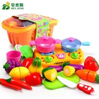 BEI JESS Girls Miniature Kitchen Toy Food Set Pretending to Play Plastic Foods Fruits and Vegetables Cutting Birthday Gift