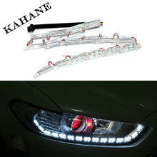 2X 16LED Car Flexible White/Amber Switchback LED Strip Light for Headlight Dual Color DRL Turn Signal