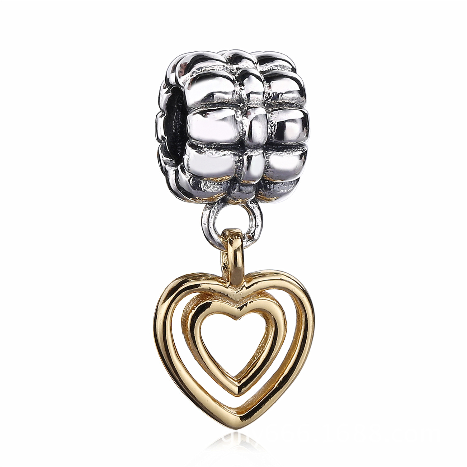 cb1481afa Authentic 925 Sterling Silver Friendship Love Gold Heart Charm Beads With  Clear Cz ...