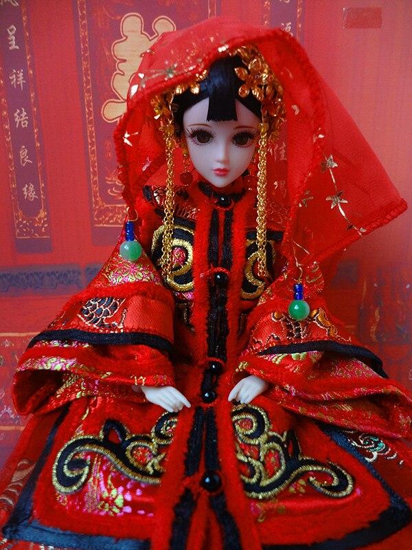 Poupées de mariée chinoises anciennes à collectionner poupée de la dynastie Qing Style Vintage BJD fille poupées jouets cadeaux de mariage