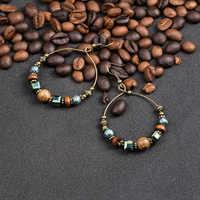 Boucles d'oreilles en cristal de bohème pour les femmes Ethnique grand cercle rond boucle d'oreille gland creux Vintage perles en bois en métal boucle d'oreille bijoux cadeau