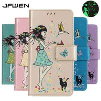 JFWEN For Apple Iphone 8 Case Cute Girl Luxury Magnetic Wallet Stand PU Leather Flip Cover