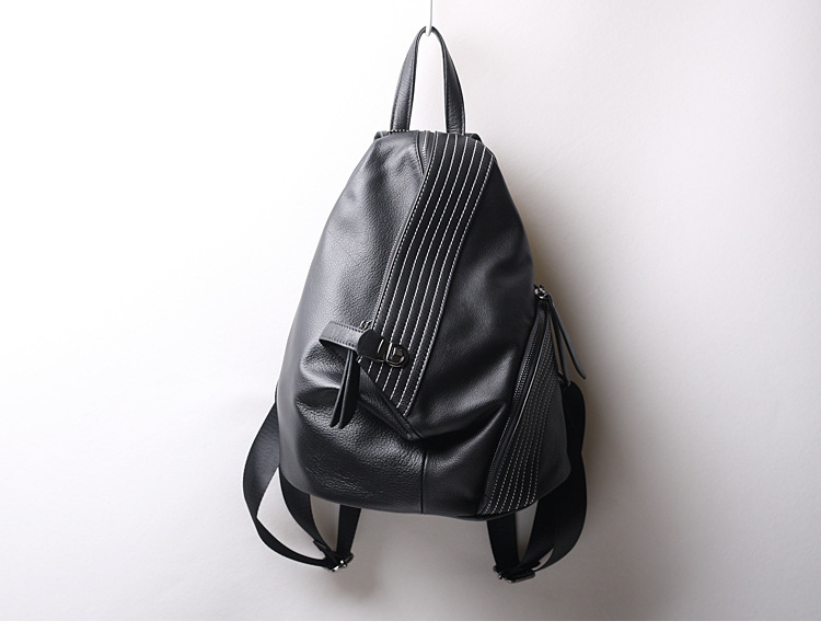 2019 Black Fashion Women Backpack 100 Real Cow Genuine Leather Schoolbag For Girl Female Travel Bag