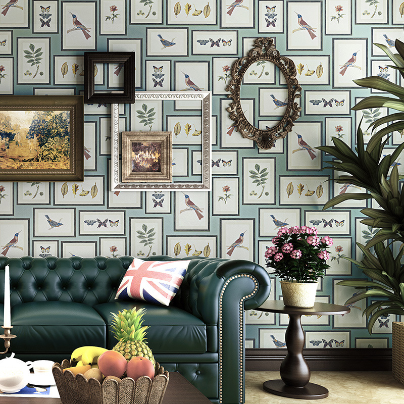 Living Walls Behang.Us 31 99 36 Off Vintage American Rustic Wallpapers Decor Home Bird Butterfly Papel Murals Photo Frame Wall Paper Roll For Bedroom Walls Behang In