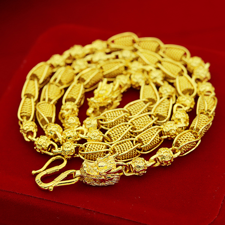 weighty Heavy!Transport bead 48g 24ct dragon Real Yellow Solid Gold Filled Men's Necklace Curb Chain 5mm Jewelry
