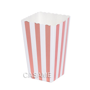 Image 5 - 6pcs Popcorn box colorful chevron stripes dot Gold Gift Box Party Favour Wedding Pop corn kid party decoration bags loot