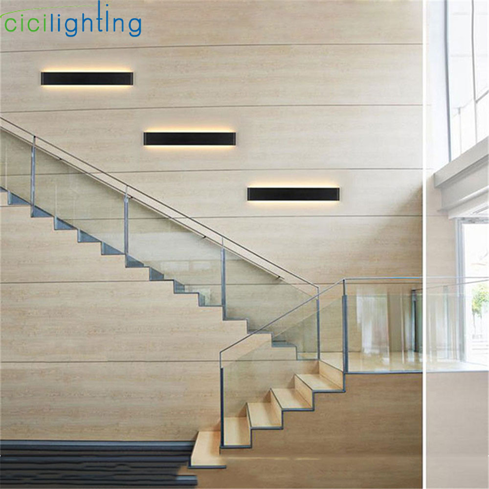 L24 / 41/51/61/72/91 / 111cm שחור לבן LED מדרגות חדר שינה חדר שינה רקע מנורה אורות אמבטיה מראה אור פמוטים קיר