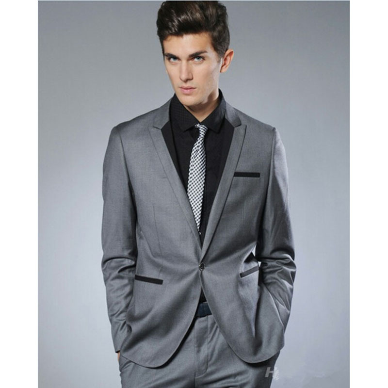 Gray Mens Business Dress Suits kingsman terno masculino 2017 grey Slim Fit 2 pieces men wedding suit with pants ( jacket+Pants)