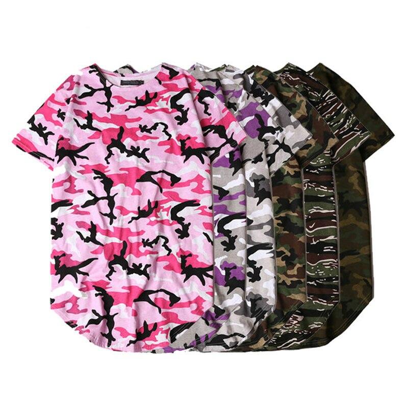 c20cc94a438b Color Block Camouflage Oversized T Shirt Men Hip Hop Streetwear Pink Summer  Longline Male Tops Justin Bieber ...