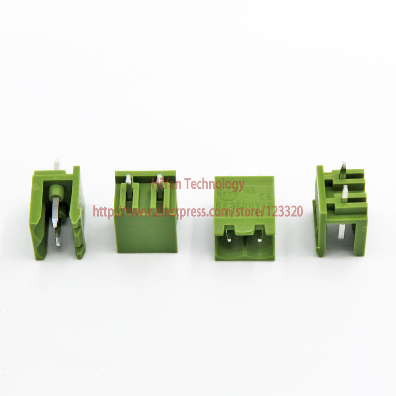 (20sets/lot) PCB Screw Terminal Block Connector KF2EDGK 2P and 180 Degree Pin Header pitch:5.08MM/0.2inch Green 10A 300V 2Pins