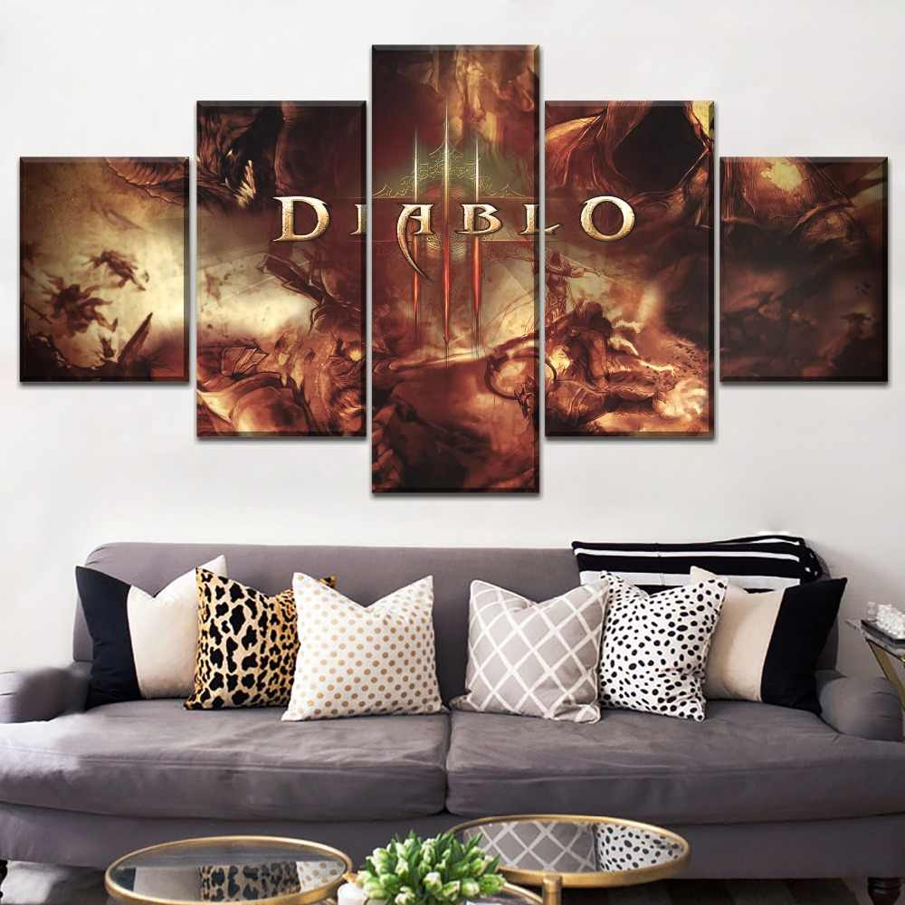 One Set Modular Style 4 Piece Diablo 3 Angels vs Demons HD Picture Modern Home Decorative Bedroom Wall Canvas Print Game  Poster