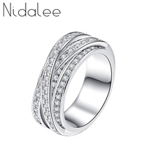 ec43e607a53 Nidalee Cristal de Swarovski Anel de Luxo Branco AAA Zircon Anéis Para As  Mulheres Do Vintage New Moda Feminina Jóias Casamentos.