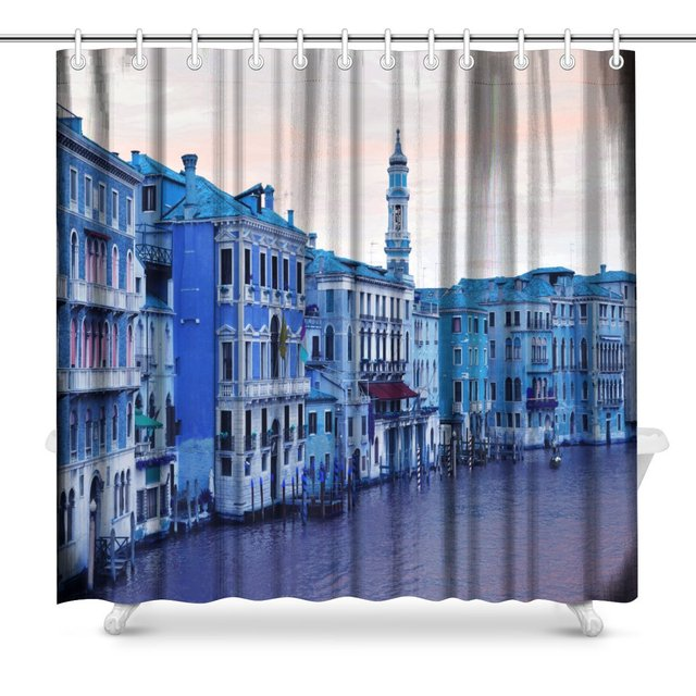 Abstract Panoramof The Grand Canal In Venice Italy Fabric Bathroom Shower Curtain Decor Set With Hooks 72 X Inches