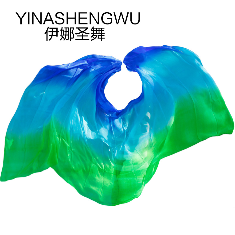 Newest Pure Silk Belly Dance Veils Belly Dance Scarf Silk Veils Practice Stage Performance Royal Blue+turquoise+green