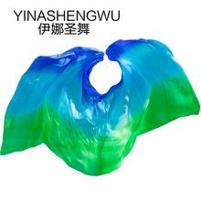 Newest Pure Silk Belly Dance Veils Scarf Practice Stage Performance royal blue+turquoise+green