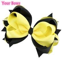 5,5 дюймовые желтые и черные банты для волос, заколки для волос для девочек, шпильки с цветком, повязка на голову, милые головные уборы для девочек, аксессуары для волос